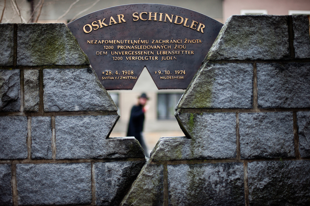 Oskar Schindler was born 1908 in Svitavy (German: Zwittau) - now located in Czech Republic. Oskar Schindler (28 April 1908 – 9 October 1974) was an ethnic German industrialist who saved the lives of more then 1000 jews during the 2nd World War. His story became world famous when Steven Spielberg filmed Schindlers story in the movie Schindler's List (Schindler's Ark). On the images seen the Oskar Schindler memorial located in the city of Svitavy.